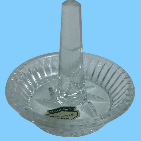 Vintage Ring Holder Dish Clear Lead Crystal